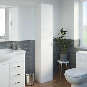 High gloss Standing Bathroom Tall Cabinet Shelf Storage Cupboard 4 Shelves White