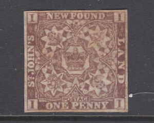 Newfoundland Sc 15A MNG. 1861-62 1p violet brown Crown & Heraldic Flowers, sound