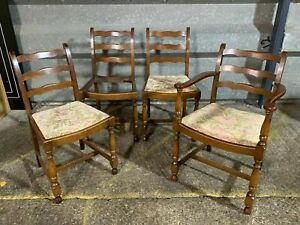 Set of 4x ladder back farmhouse style dining chairs inc carver chair - Delivery
