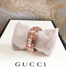 Gucci Rose Color Crystal Embellished Enamel Cuff Bracelet