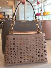 MICHAEL KORS PORTIA PERFORATED SAFFIANO LEATHER SMALL SATCHEL BAG SOFT PINK