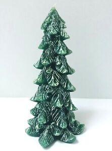 """Vintage Green Christmas Tree Candle Glitter Sparkle Snow 8.5""""  Unused"""