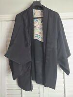 Vintage Kimono Traditonal Japanese Jacket Robe Geisha Black Floral Lined