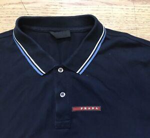 Prada Navy Blue Polo T Shirt Large
