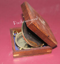 Nautical Maritime Antique Flat Compass With Wooden Box Ship Astrolabe Gift Item.