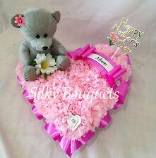 Artificial Silk Flower Teddy Heart Tribute Pink Mum Funeral False