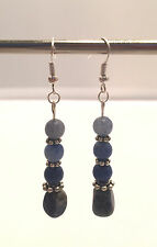 Handmade Blue and Silver Earrings. 2 1/4 Inches.