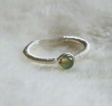 Sterling Silver Wire Wrap Green Tourmaline Ring Handmade Size N