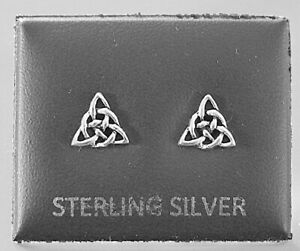 STERLING SILVER 925, STUD EARRINGS CELTIC TRIANGLE WITH BUTTERFLY BACKS STUD 119