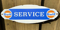 VINTAGE GULF SERVICE PORCELAIN SIGN DOOR PLAQUE USA OIL GAS STATION PUMP LUBE