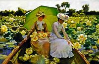 Lotus Lilies by American  Charles Curran. Canvas Life Art.  13x19 Print