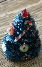 Vintage Christmas Tree Bottle Brush w/ Red Light Bulbs, Candy Cane, Wreaths 4.5""