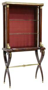Vitrine Open Front, French Empire Style Mahogany, Brass Rail, Vintage, 1900's!!