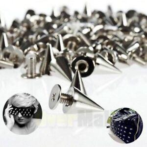 100x 10mm Silver Spots Cone Screw Metal Studs Leathercraft Rivet Bullet Spikes
