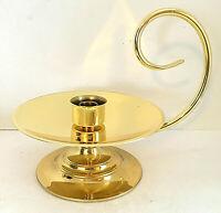 "Baldwin Brass Candle Holder Chamberstick Loop Handle Drip Saucer 8"" Diam EUC"