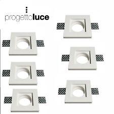 Porta faretto in gesso da incasso per lampade led a scomparsa  quadrata 6 pezzi