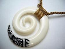 37mm Large Hand Carved Maori Koru Eternal Friendship Buffalo Bone Necklace #3
