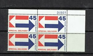 1969 45c SPECIAL DELIVERY plate block of 4 (E22) with full OG and NEVER HINGED!!
