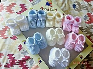 Baby Booties Shoes Blue/Pink/White Boy/Girl Drawstring Knitted Bow Socks N Born