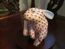 Herend Scratching BUNNY RABBITBlue OR  Rusty Fishnet Figrine Rt $335