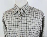 Canali XXL Button Front Flannel Shirt Long Sleeve Plaid Cotton Made in Italy