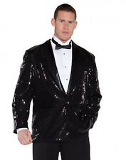 Disco Musical Jazz Rockstar Rocker Pimp Costume Black Sequin Jacket Os