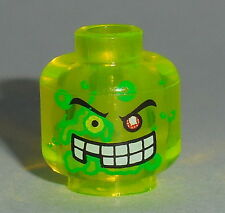 HEAD MF026 Lego Male Slime Face 1 Red Eye Missing Tooth NEW Trans-Neon Green