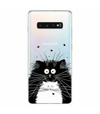 Coque Galaxy S10 Chat coeur love noir blanc moustache transparent