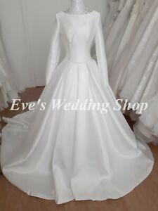 Verise Ivory mikado wedding dress with long sleeves UK 10 - check measurements