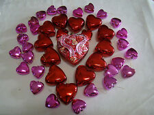 Lot of 42 Red and Pink Heart Ornaments Christmas 1 Large 12 med 29 small