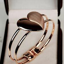 Fashion Ladies Elegant Heart Bangle Wristband Rose Gold Bracelet Cuff Bling Gift