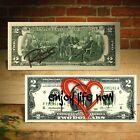"Open Heart Red Graffiti ""Enjoy Life Now"" Signed by Rency $2 Bill Art LTD # of 66"