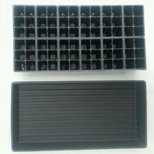 Set of 10 SOLID TRAYS AND 720 Cells Seedling Starting 10 Inserts Black 1206