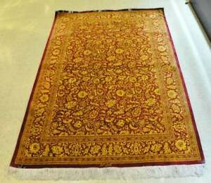 """75"""" x 52"""" - Magnificent Persian Silk Red & Yellow Carpet Signed by artist"""