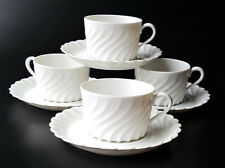 4 Haviland Limoges Torse white swirl cup and saucer sets