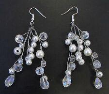 White Pearl Vine Earrings Bead Silver Bridal Wedding Wire Jewellery Vintage 896