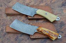 2XDamascus steel BLADE OUTDOOR CLEAVER KNIVES BONE HANDLES