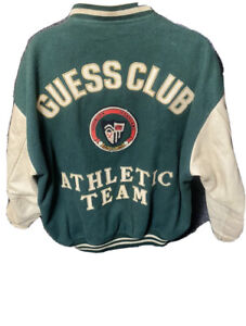 Vintage GUESS Georges Marciano Leather Varsity Letterman Guess Club Jacket