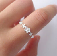 925 Sterling Silver Stacking Small Flowers Daisy Knuckle Midi Toe Ring Open Band