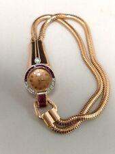 Vintage Art Deco 14k Rose Gold Ladies Watch with Rubies and Diamonds