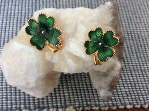 Retro Avon Clip on Shamrocks green luck Irish St.Patrick's Day 4 leaf clover