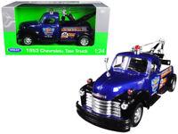 1/24 Welly 1953 Chevrolet Tow Truck Highway 66 Garage Blue Diecast Blue 22086