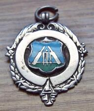 1954 Plymouth & District Cricket League Sterling Silver & Enamel Fob Medal