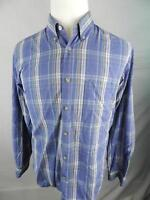 IZOD Large Mens Shirt Blue Plaid Contrast Cuff Long Sleeve Button Down