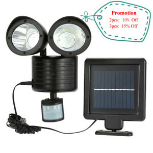 Solar 22 LED Dual Security Detector Motion Sensor Spot Light Floodlight Outdoor