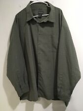 Alexander Lloyd 4X Big Tall Sueded Microfiber Long Sleeve Green Shirt Button