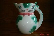 Vintage Lipper & Mann Pink/Green Cat Pitcher Creamer Japan Label - 4 1/4 Inch