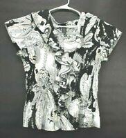Lane Bryant Women's Plus Size 18/20 Short Sleeve V-Neck Semi Sheer Blouse