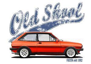 FORD FIESTA XR2 mk1 t-shirt. OLD SKOOL. CLASSIC CAR. MODIFIED. RETRO.