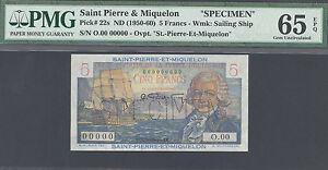 Saint Pierre and Miquelon, 5 Francs, Pick 22s, SPECIMEN, PMG 65EPQ, Ser.000 000